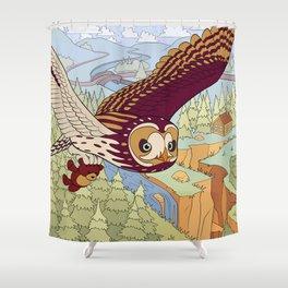 Short-eared Owl with Teddy Bear Shower Curtain
