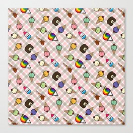Neapolitan Gingham Frosty Treats Canvas Print
