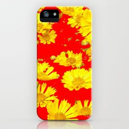 RED-YELLOW COREOPSIS FLOWERS ART iPhone Case