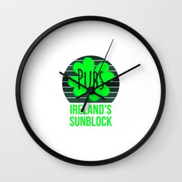 Pubs The Official Sunblock of Ireland St Patricks Day Wall Clock