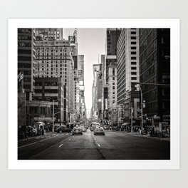 Sunset on 7th (Black and White Version) Art Print
