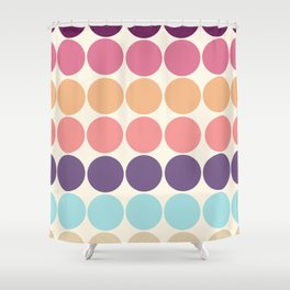 Classic Freehand Vintage Style Retro Dots Shower Curtain