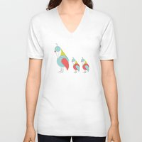 mid century V-neck T-shirts featuring Mid Century Modern Partridges by Modern South Design