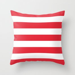 Rose madder - solid color - white stripes pattern Throw Pillow