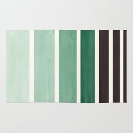 Deep Green Minimalist Watercolor Mid Century Staggered Stripes Rothko Color Block Geometric Art Rug
