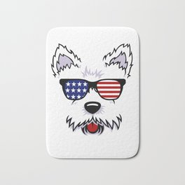 Westie Dog Face with American Flag Sunglasses Bath Mat