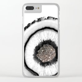 White Agate with Silver Glitter Glam #1 #gem #decor #art #society6 Clear iPhone Case