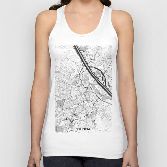 Vienna City Map Gray Unisex Tank Top