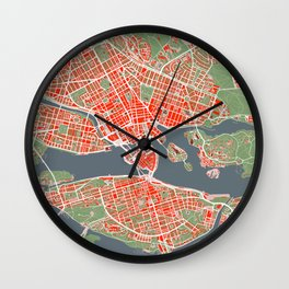 Stockholm city map classic Wall Clock