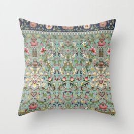 Asian Floral Pattern in Turquoise Blue Antique Illustration Throw Pillow
