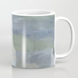 Diptych II - Sky Gray Blue Sage Green Abstract Wall Art, Painting Art, Lake Nature Print Portrait Coffee Mug
