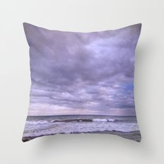 Rain storm at the sea Throw Pillow