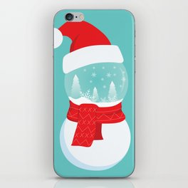 Snow Man versus Snow Ball Merry Christmas iPhone Skin