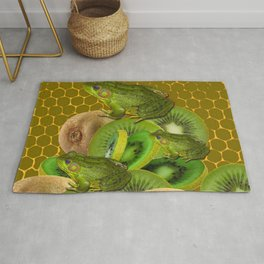 3 GREEN FROGS & KIWI FRUIT PATTERNED GREEN-GOLD ART FROM Rug