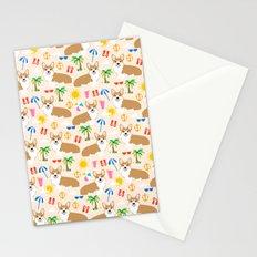 Corgi Summer Beach design - cute corgis at the beach Stationery Cards