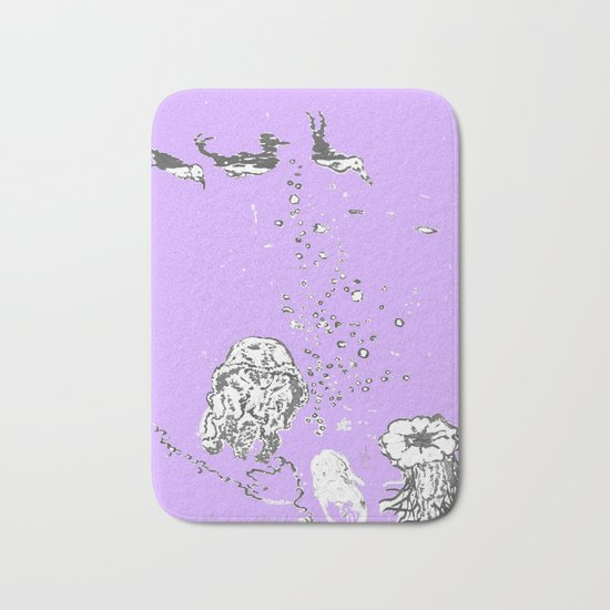 Two Tailed Duck and Jellyfish Purple Grape Bath Mat