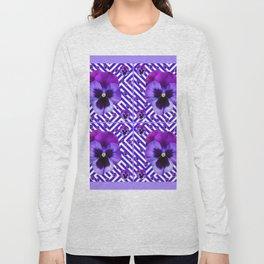 DECORATIVE LILAC PURPLE PANSIES  FLOWERS Long Sleeve T-shirt