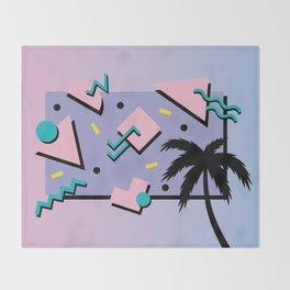 Memphis Pattern 25 - Miami Vice / 80s Retro / Palm Tree Throw Blanket
