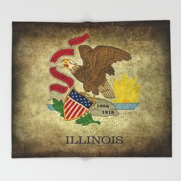 Illinois State flag, vintage on parchment paper Throw Blanket
