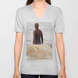 Gormley Statue in the Sea (Digital Art) Unisex V-Neck