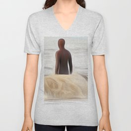 Gormley Statue in the Sea (Digital Art) Unisex V-Neck