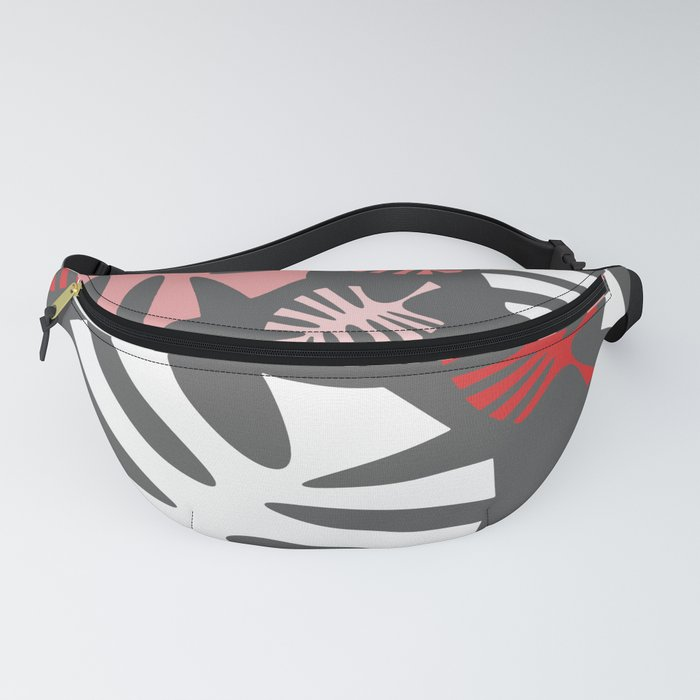 Pink Monstera Leaves on Gray Fanny Pack