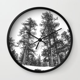 Snowscape Sky // Winter Trees Black and White Landscape Snow Ski Snowboard Photography Wall Clock