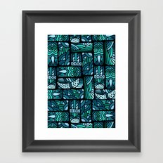 Ethnic blue pattern Framed Art Print