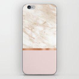 Caramel marble on rose gold blush iPhone Skin