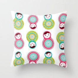 dolls matryoshka on white background, pink and blue colors Throw Pillow