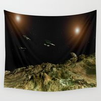 outer space Wall Tapestries featuring In Outer Space by bizwings