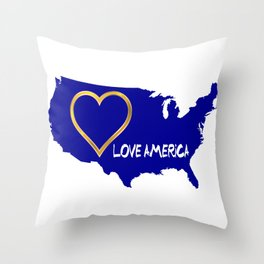 Love America USA Map Silhouette Throw Pillow