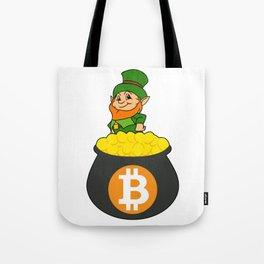 Leprechaun Bitcoin Pot Of Gold St Patricks Day HODL Tote Bag