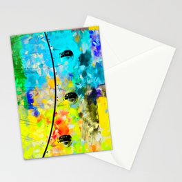 ferris wheel with blue yellow green painting texture abstract background Stationery Cards