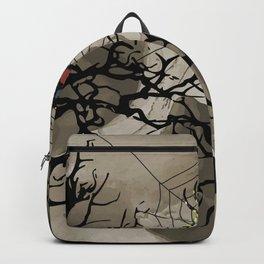 halloween Spider in web between trees Backpack