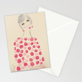 Woman in pink Stationery Cards