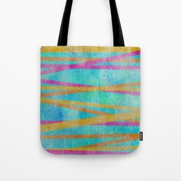 Teal Tropical Batik Stripe Pattern Tote Bag