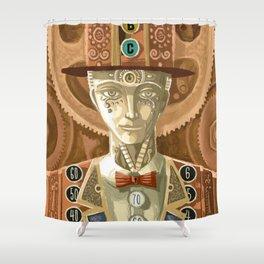 steampunk cash machine man Shower Curtain