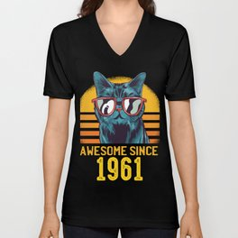 Cats Birthday Awesome Since 1961 Funny Gift Unisex V-Neck