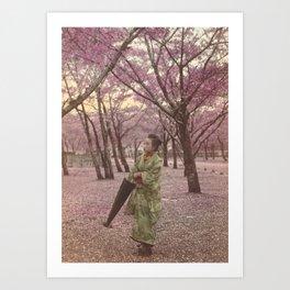 Geisha among Cherry Blossom trees Art Print