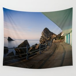 Meadfoot Beach Huts Wall Tapestry