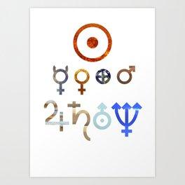Planetary Symbols II Art Print