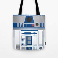 r2d2 Tote Bags featuring R2D2 by Sam Del Valle
