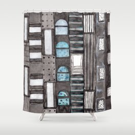 Gray Facade with Lighted Windows Shower Curtain