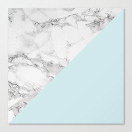 Marble + Pastel Blue Canvas Print