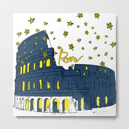 Rome Italy Colosseum Starry night Metal Print