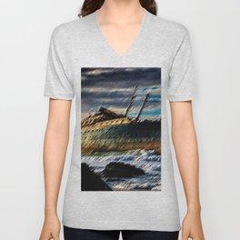 The Spirit of America Coastal Shipwreck Landscape by Jeanpaul Ferro Unisex V-Neck