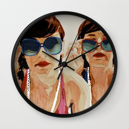 Woman in Vintage Sunglasses Wall Clock