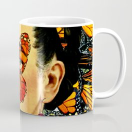Frida Kahlo with Monarch Butterflies Coffee Mug