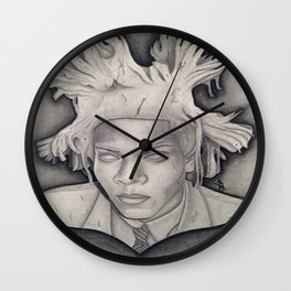 """Immortalizing in Stone"" Jean-Michel Basquiat Drawing Wall Clock"